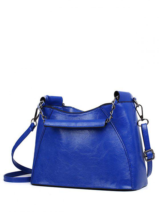 outfit PU Leather Chains Solid Color Tote Bag - BLUE