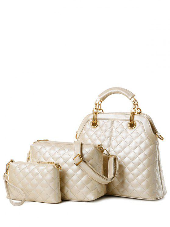 shop Checked Metal Solid Color Tote Bag - OFF-WHITE