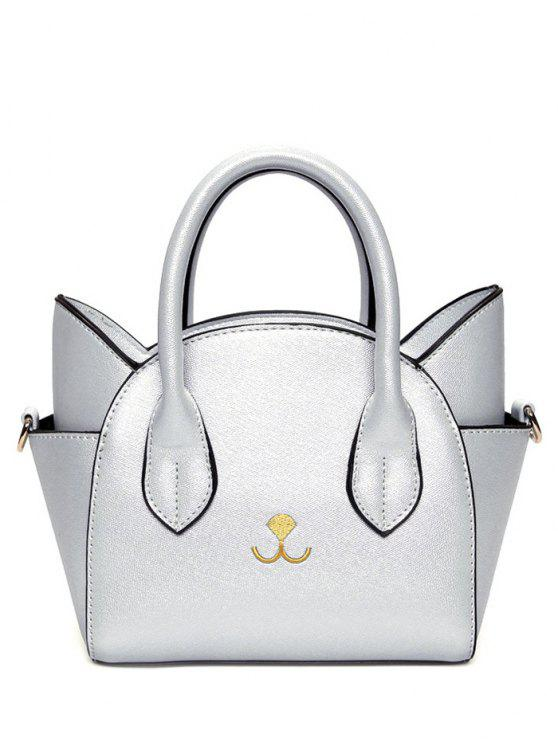 latest Cat Shape Solid Color Tote Bag - SILVER