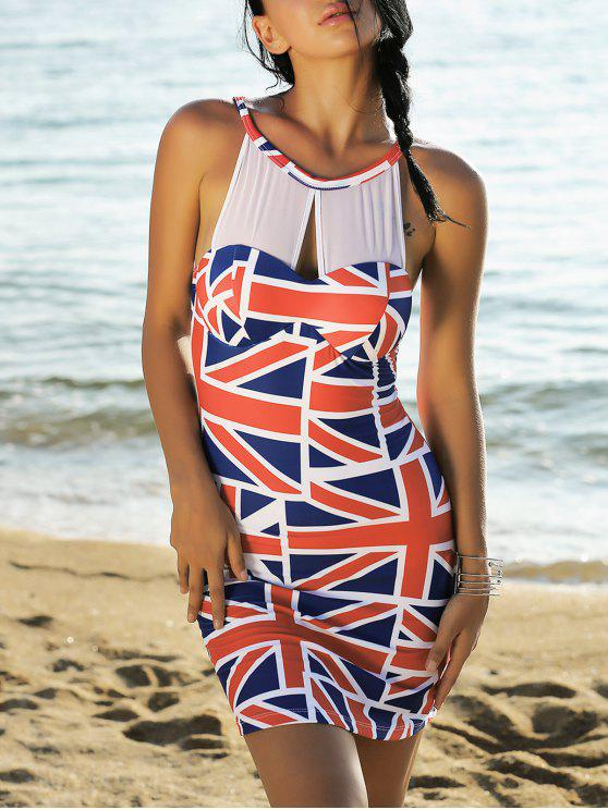 hot Union Flag Sleeveless Mesh Panel Dress - RED AND WHITE AND BLUE XL