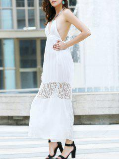 Open Back Halter Lace Panel Maxi Dress - White L
