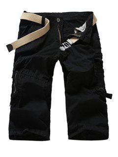 Fashion Men's Camo Printed Cargo Shorts - Black 29
