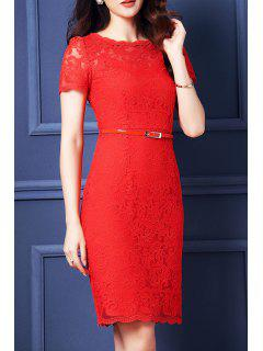 Belted Guipure Lace Bodycon Dress - Red S