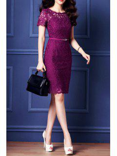 Belted Guipure Lace Bodycon Dress - Purple S