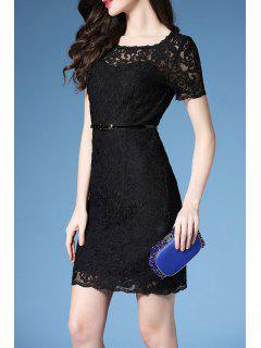 Belted Guipure Lace Bodycon Dress - Black S