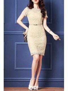 Belted Guipure Lace Bodycon Dress - Apricot S