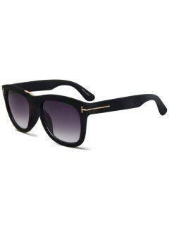 Letter T Matte Black Square Sunglasses - Black