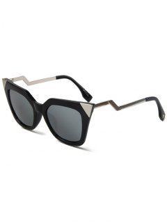 Gafas De Sol Ojo De Gato De Alto Puntiagudo Negro - Plata