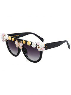 Flowers Butterfly Black Sunglasses - Black