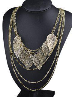 Openwork Leaf Layered Sweater Chain - Golden