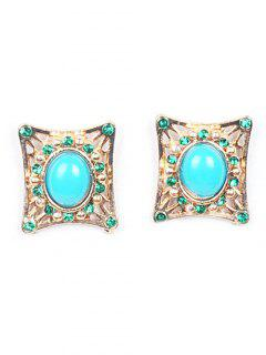 Elegant Quadrate Faux Gem Earrings - Golden