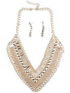 Bohemian V-Neck Necklace And Earrings - Golden