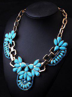 Tear Drop Acrylic Chunky Necklace - Lake Blue