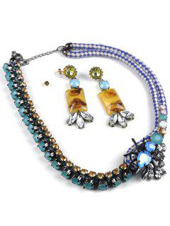 Boho Insect Necklace And Earrings - Blue