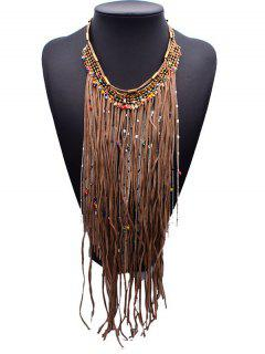 Ropes Alloy Tassels Statement Necklace - Coffee