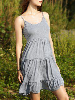 Tiered Solid Color Camisole Dress - Light Gray S