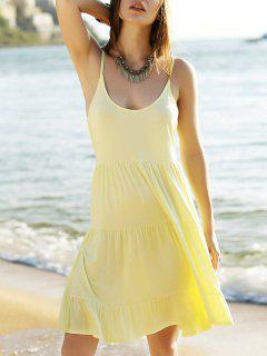 Tiered Solid Color Camisole Dress - Light Yellow S