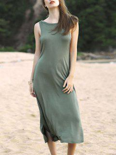 Irregular Hem Round Neck Solid Color Dress - Army Green S