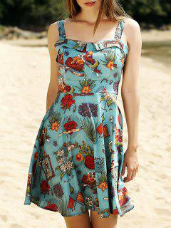 Printed Vintage Spaghetti Straps Ball Gown Dress - Pea Green S