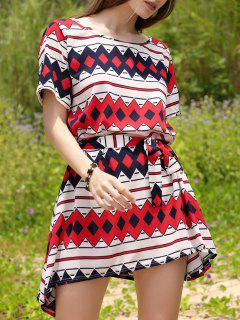 Slash Neck Straight Dress - Red S