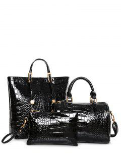 Crocodile Print Metal Buckles Tote Bag - Black