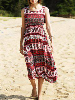 Ethnic Print Waisted Long Dress - Red M