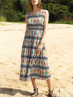 Colorful Animal Print Long Dress - M