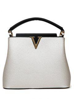 Letter V PU Leather Tote Bag - White