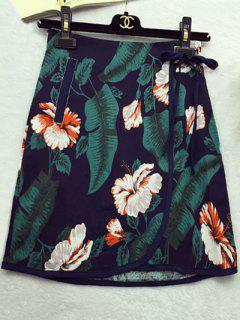 Flower Print High Waist A Line Skirt - S