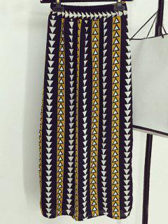 Geometric Print High Waisted Skirt - Yellow