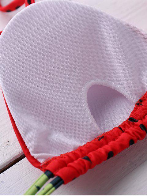 best Watermelon Print Halter Bikini Set - RED S Mobile