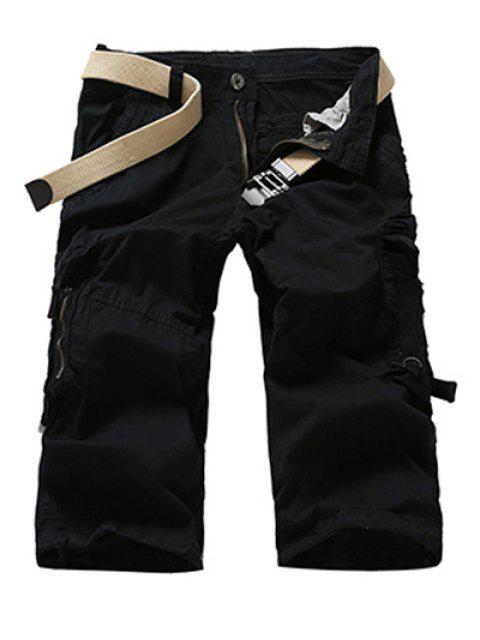 shop Fashion Men's Camo Printed Cargo Shorts - BLACK 29 Mobile