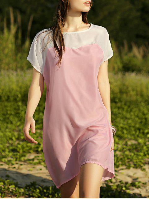 latest Batwing Sleeve Two-Tone Dress - PINK L Mobile