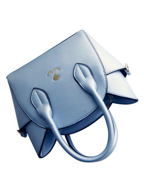 shops Cat Shape Solid Color Tote Bag - BLUE  Mobile