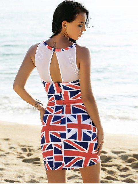 Union Flag Sleeveless Mesh Panel Dress - Rouge et blanc et bleu M Mobile