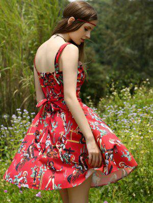 Printed Vintage Spaghetti Straps Ball Gown Dress - Red L