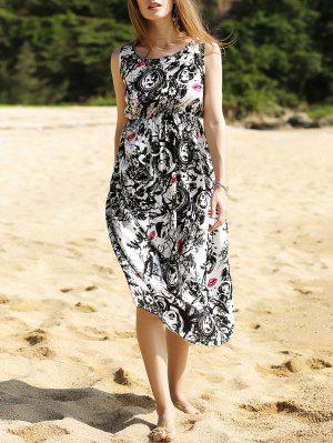 Black And White Long Dress - White And Black L