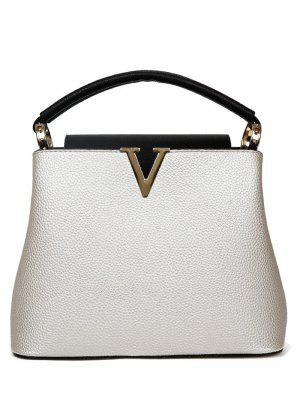 Letter V PU Leather Tote Bag