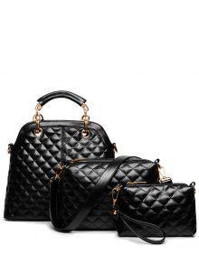 Buy Checked Metal Solid Color Tote Bag - BLACK
