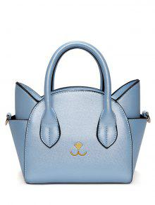 القط شكل الصلبة اللون حمل حقيبة - أزرق
