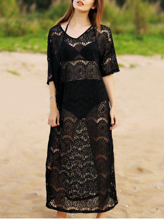affordable Hollow Out V-Neck 3/4 Sleeve Lace Cover Up - BLACK ONE SIZE