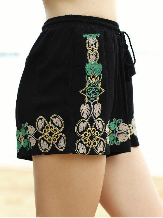 Bordado elástico de la cintura Pantalones cortos de pierna ancha - Negro L