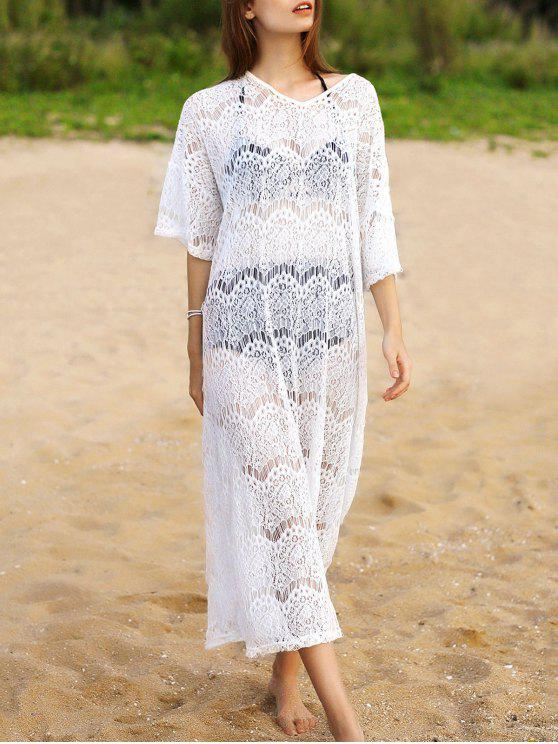 sale Hollow Out V-Neck 3/4 Sleeve Lace Cover Up - WHITE ONE SIZE