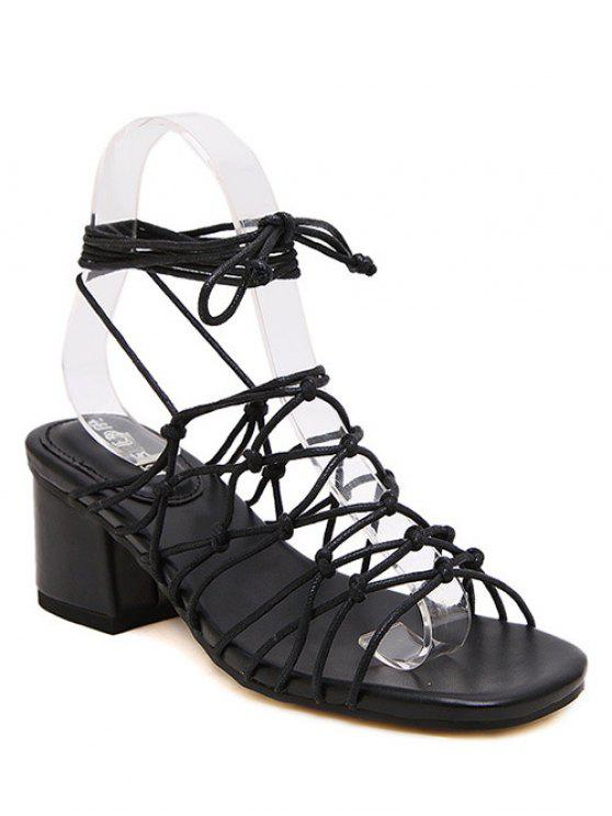 womens Lace-Up Strappy Chunky Heel Sandals - BLACK 38