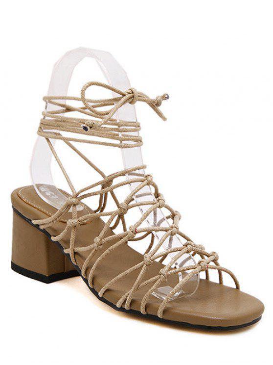 women's Lace-Up Strappy Chunky Heel Sandals - APRICOT 39