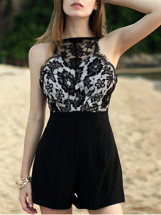 hot Lace Bodice Sleeveless Playsuit - BLACK S