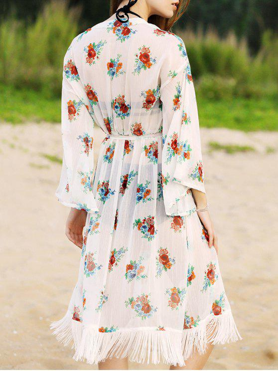 trendy Floral Print Waisted Long Cardigan - WHITE L