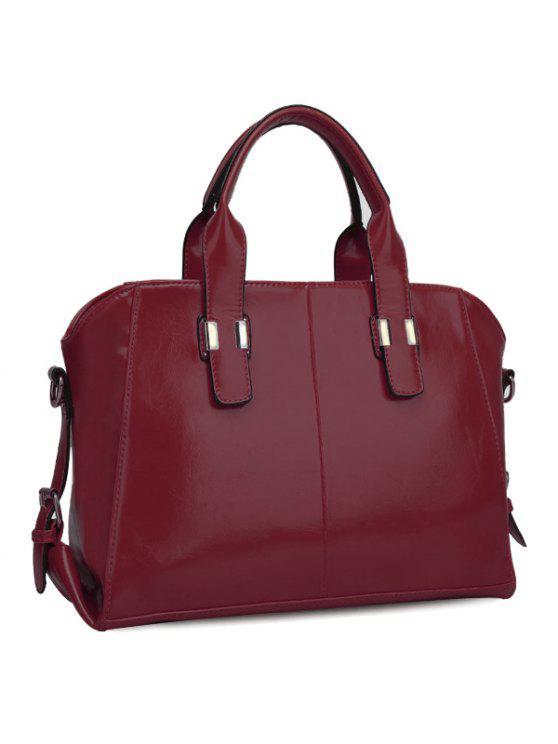 حقيبة كتف لون اسود للنساء - نبيذ أحمر