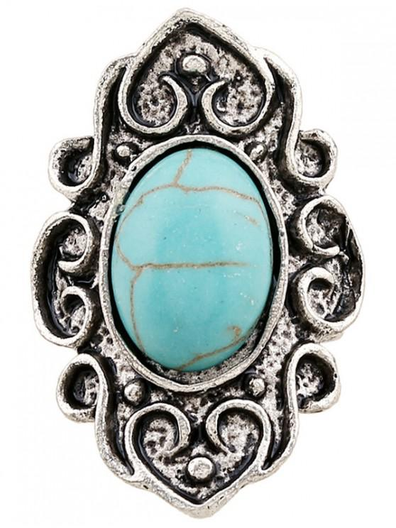 Faux Turquoise Bague flamme Embossed - Argent