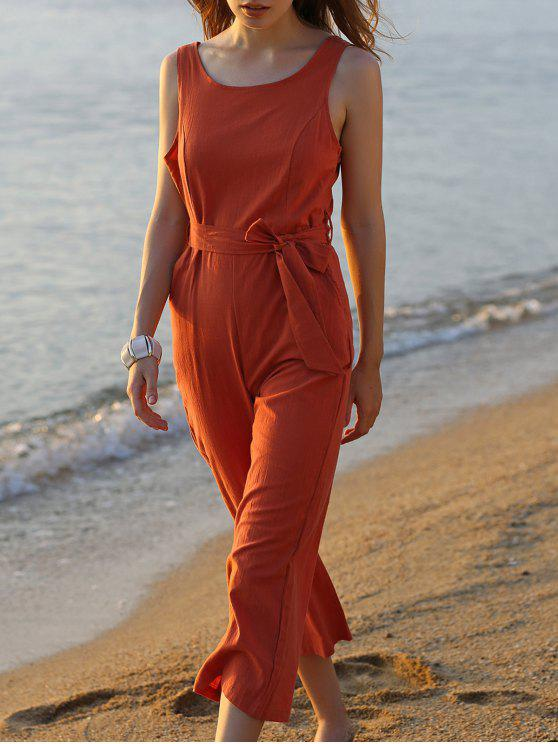 ladies Bowknot Solid Color Round Neck Sleeveless Jumpsuit - JACINTH XL